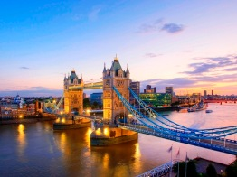 River Thames and Tower Bridge at Dusk, London, England